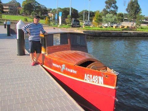 23ft dayboat launch - easy build in plywood 10hp high thrust outboard - by wharf on sydney harbour
