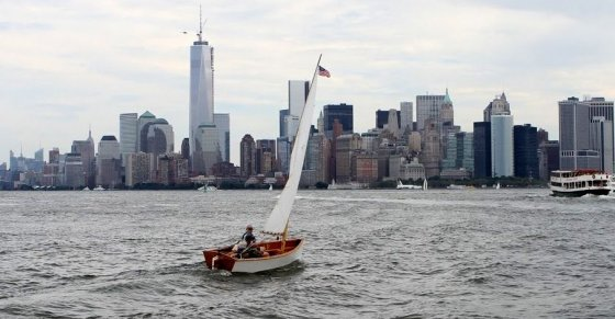 Dave LaFontaine's Goat Island Skiff Chivita with New York Backdrop